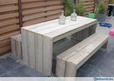 Steigerhout picknick set tafel 2banken gratis levering