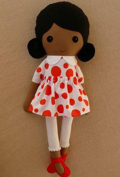 Fabric Doll Rag Doll Black Haired Girl in Dark Orange Polka Dotted Dress