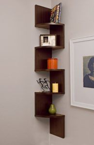 Brown Corner Wall Shelves
