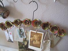 Paper Flowers on Vintage Hanger