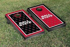 Ball State University Cardinals Repeat Logo Wallpaper Cornhole Set