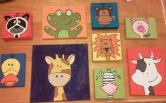 cute animal paintings for boys bathroom! acrylic paint on canvas.
