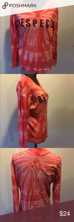 Lucky Knit Tye Dye Thermal GUC Cute Preloved Lucky Brand 100% cotton Thermal. Tye dyed orange color. Size Large. There is slight wear on lettering and Tiny stain at very end of one sleeve see Pics- Lucky Brand Tops Tees - Long Sleeve
