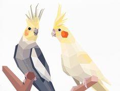 Cockatiel pair, Geometric print, Original illustration, Animal print, Minimal art, Nursery wall art
