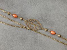 Headband Bronze Connecteur Feuille ajourée Perles Magiques Couleur Noisette - Bijou Artisanal
