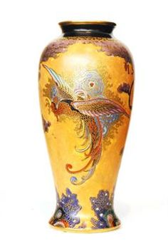 Carlton Ware - Chinese Bird - A vase of slender form decorated with a large stylised bird with ou