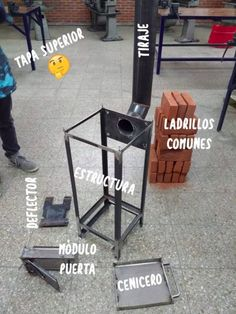 estufa, leña Diy Rocket Stove, Rocket Mass Heater, Rocket Stoves, Bbq Stove, Stove Oven, Diy Pizza Oven, New Kitchen Gadgets, Fire Pit Grill, Outdoor Fireplace Designs