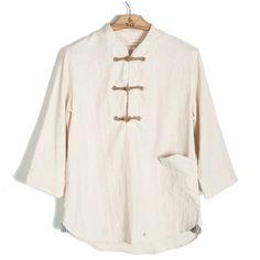 Chinese style vintage fluid cloth plate buttons three quarter sleeve linen shirt slim male