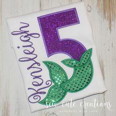 ee2acd3fd Mermaid Birthday Shirt - Mermaid birthday outfit - Mermaid Tail Birthday  shirt - Under the Sea Birthday - sew cute creations