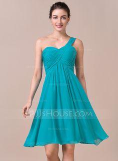 Empire One-Shoulder Knee-Length Chiffon Bridesmaid Dress With Ruffle (007057723)