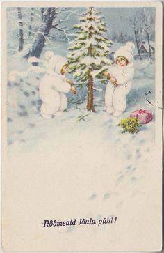Õnnitlus; lapsed kuuske saagimas; postkaart enne 1940