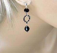 Black Bridesmaid Earrings Jet Black Swarovski by PixieDustFineries, $32.00