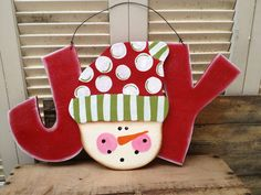Whimsical Snowman Joy Hanger Christmas Home Decor Sign Joy Sign