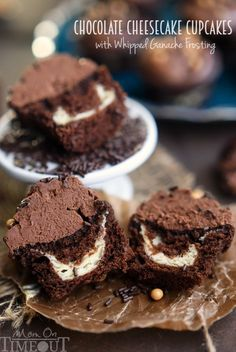 ***Chocolate Cheesecake Cupcakes with Whipped Ganache Frosting