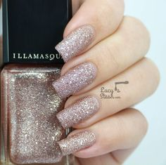 Illamasqua Shattered Stars polishes | Glamore Collection - Review &  Swatches.  ★ Trilliant★  a beige glitter texture nail polish with hints of vintage pink.