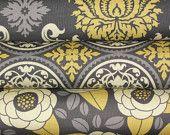 Joel Dewberry Fabric, Aviary 2, Half Yard Bundle, Granite and Yellow, 1.5 Yards Total. $12.00, via Etsy.