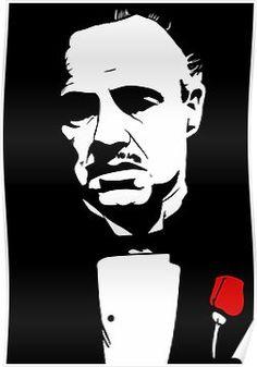 Marlon Brando as Don Vito Corleone, using Krita Beta. Art Sketches, Art Drawings, White Art, Black And White, Don Corleone, Flower Canvas, Stencil Art, Stenciling, Silhouette Art