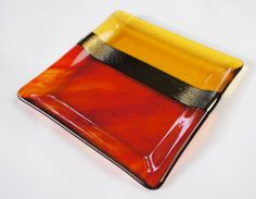 Gold Amber Orange Red Fused Glass Plate Decorative by ModMixArt, $28.00