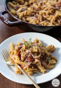 Bacon, Onion, and Goat Cheese Pasta