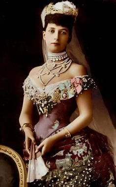 1889 (?) Alexandra in grand dress wearing the Rundell tiara colorized by Isabel