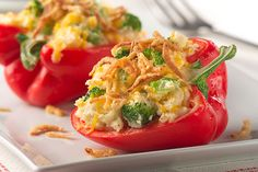 You just can't go wrong with stuffed peppers! Particularly when they're stuffed with a mixture of broccoli and cheesy potatoes!