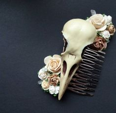 Crow skull with roses bridal wedding hair comb, floral fascinator vintage cream  antique style headpiece with gemstones