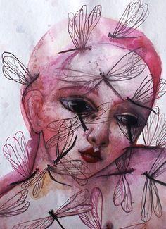 DARIA PALOTTI  'Lacrime di libellula', 2014.  Acquerelli su carta/Watercolors on paper, 21x29,7 cm. https://www.facebook.com/pages/Daria-Palotti/284189421597142?fref=ts , http://www.sacripanteartgallery.com/graphiste/