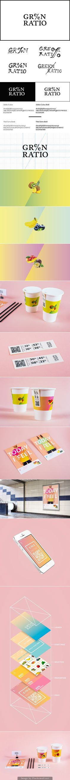 Proportion and relation between the ingredients.  The label represents the two main ingredients in the smoothie creating an interesting #packaging design concept. Curated by Packaging Diva PD created via https://www.behance.net/gallery/17553723/Branding-Green-Ratio