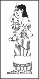 Assyrian  frigned shawl wrapped around the body so that it is draped. http://www.fashion-era.com/ancient_costume/assyrian_clothing_pictures_assur.htm#King_Assur-nasir-pals_draped_Shawl_Pattern_Guideline_