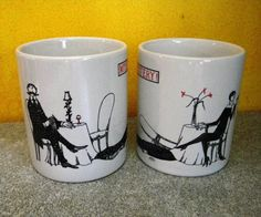 Vintage Pair of Edward Gorey Mystery Mugs - Edwardian Murder Scenes - Unused. $44.88, via Etsy.