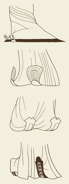 The shoe tip styles of, from top down, Han Dynasty, Southern and Northern Dynasties, Sui Dynasty and Tang Dynasty. [Selected from Research on Ancient Chinese Clothes and Adornments by Shen Congwen.]