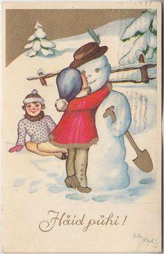 Õnnitlus, kallis lumemees; postkaart enne 1940