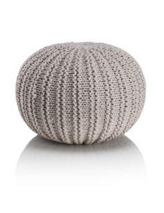 Cream Knitted Pouffe Dunelm Living Room Knitted
