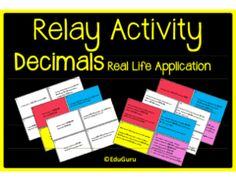 Celebrating Real Life mathematics! - Let's celebrate how mathematics can be applied to real life!.  A GIVEAWAY promotion for Decimals Real Life Application Relay Whole Class Activity from EduGuru on TeachersNotebook.com (ends on 9-30-2015)