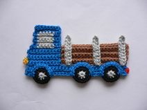 Langholztransporter – crochet motif - Home Page Crochet Car, Crochet Toddler, Crochet For Boys, Crochet Beanie, Crochet Gifts, Crochet Toys, Boy Crochet Patterns, Doily Patterns, Applique Patterns