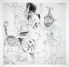 1970 Heliogravure Picasso Nude Male Female Abstract Art Etching Dry Point P347B