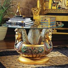 Three Heads of Tutankhamen Sculptural Glass-Topped Table - - Design Toscano Egyptian Furniture, Egyptian Home Decor, Egyptian Decorations, Egyptian Kings, Egyptian Art, Egyptian Pyramid, Egyptian Fashion, Pedestal Coffee Table, Coffee Tables