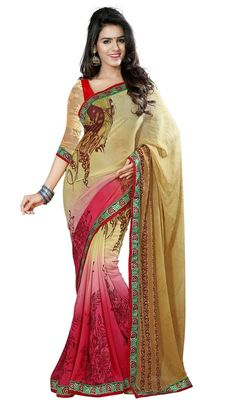 Make the heads turn after you costume up in this beige and pink color printed georgette sari. Beautified with block print and lace work all synchronized well with the trend and style and design of saree. Upon request we can make round front/back neck and short 6 inches sleeves regular saree blouse also. #BeigeBlockPrintSari