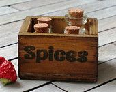 Dollhouse Miniature wooden crate dollhouse by DewdropMinis Crate Nightstand, Crate Desk, Crate Furniture, Dollhouse Furniture, Shipping Crate Homes, Shipping Crates, Polymer Clay Miniatures, Dollhouse Miniatures, Spice Labels