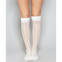 Zig Zag Crochet Knee-High Socks ($7.90) ❤ liked on Polyvore featuring intimates, hosiery, socks, tights, legs, ivory, crochet knee high socks, patterned socks, knee hi socks and knee high socks