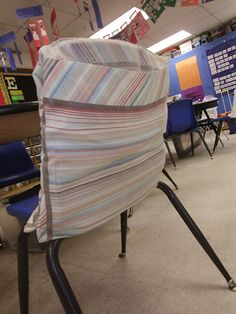 No-Sew Pillowcase Chair Pockets...have the students put all of their stuff from their backpack in these in the morning & and ad stuff to it throughout the day that needs to go home, then at the end of the day whatever is in their pocket goes in their backpack this way they are not running to their backpacks allll day.