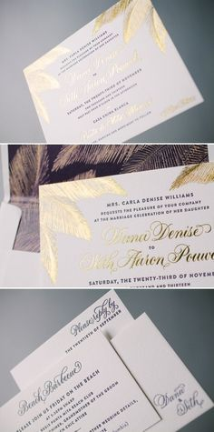 Gold foil destination wedding invitations with palm trees by Bella Figura