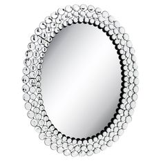 Oval Metal Wall Mirror With Round Jewels