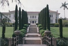 The avenue of Italian cypress (Cupressus sempervirens) leading to the Merritt…