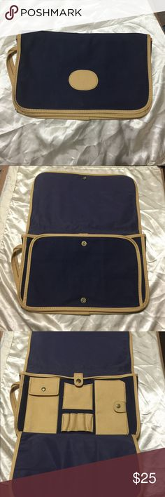 Beautiful Folding all purpose purse ! Beautiful Folding all purpose purse in navy blue !     New, elegant n stylish piece wth tons of room n pocket !   It's a very good size when u see in person (looks small due to size of pic) Bags Cosmetic Bags & Cases