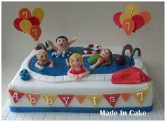 piscina PonqueSwimming Pool - Cake by June Pool Birthday Cakes, Pool Party Cakes, Pool Cake, Swim Cake, Bbq Cake, Cake Party, 8th Birthday, Birthday Parties, Swimming Cake