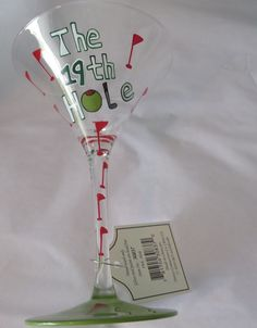 MARTINI GLASS 19th Hole Golf Enhancing Lifestyles Hand Painted NEW Direct Connec
