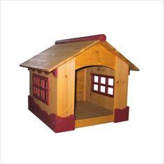 $90.95-$109.98 Burgundy Trimmed Dog House - This Burgundy Trimmed Dog House is a trendy indoor shelter for your dog. Large open windows provide ventilation and maximum visibility. Durably constructed of Fir wood with an oil based stain, this dog house is sure to easily incorporate with most home decors while giving your pet a sense of security. Approx. 30 min. assembly is required; easy to follow ...