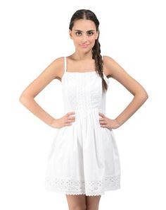 white cotton dress with cut-worked hem Western Outfits, Western Wear, Discount Online Shopping, White Casual, Cotton Dresses, Dress Making, Casual Wear, Designer Dresses, White Dress
