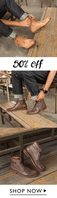Men Classic Lace Up Casual Ankle Leather Boots Chukka Boot, Grown Man, Casual Boots, Types Of Shoes, Leather Boots, Cloths, Oxford Shoes, Bob, Dress Shoes